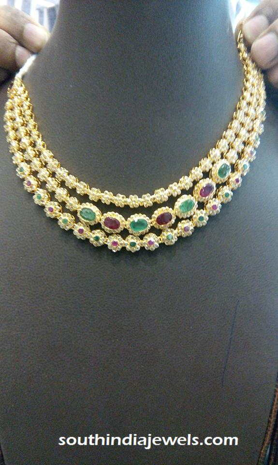CZ Stone gold three layer step  necklace design