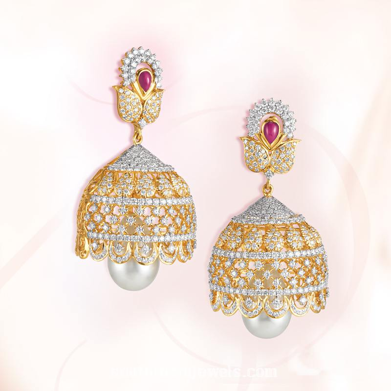 Diamond Jhumka Model from GRT Jewellers
