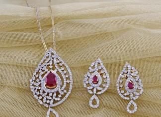 Diamond Pendant and earrings from Manubhai jewellers