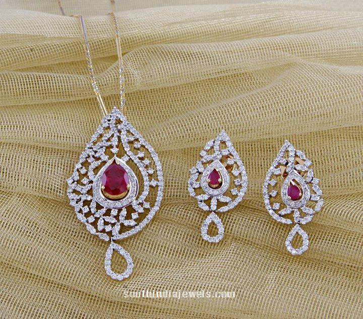 Diamond Pendant and earrings from Manubhai jewellers