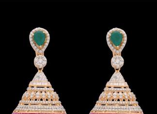 Diamond ruby emerald jhumka from Kothari jewellery