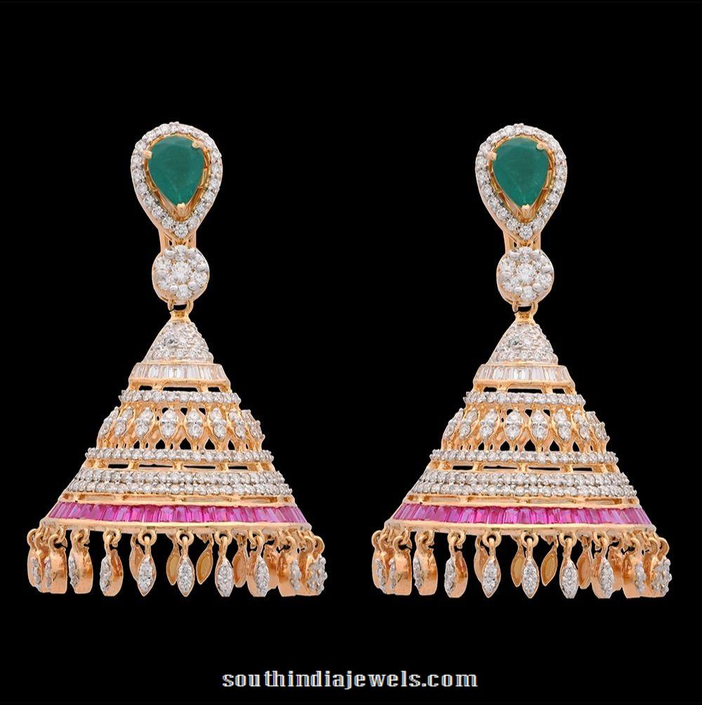Diamond ruby emerald jhumka from Kothari jewellery