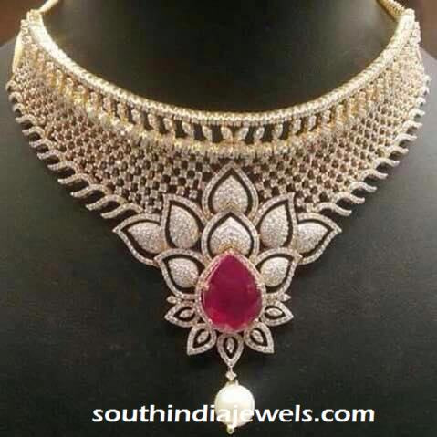 Floral Ruby Diamond Choker Necklace Design