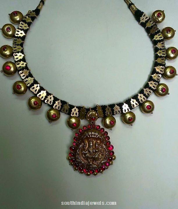 Gold Black Thread Temple Necklace Design
