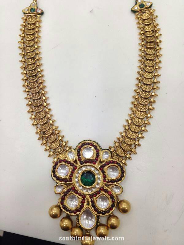 Gold Kundan Kasumalai Necklace Design