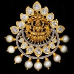 Gold Lakshmi Pendant with Pearls