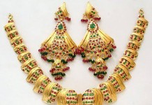 Gold Anitque Ruby Emerald Necklace
