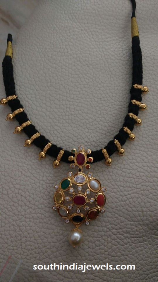 Gold black thread short necklace with navarathan pendant