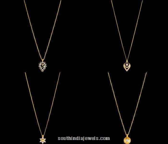 Gold Chain with diamond pendants from Kalyan Jewellers