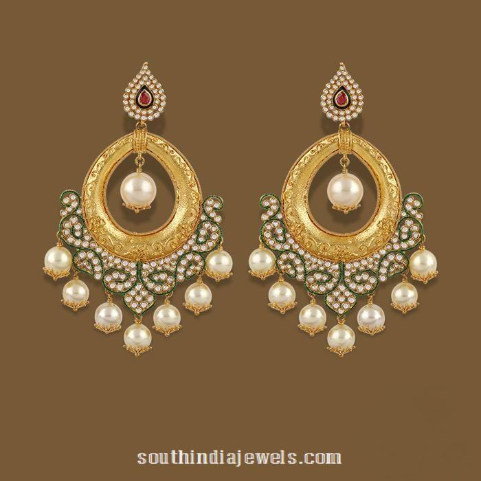 Gold Chandbali Earrings From Tbz South India Jewels