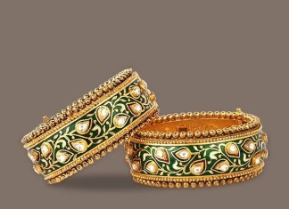 Gold Kundan Meenakari Bangle model