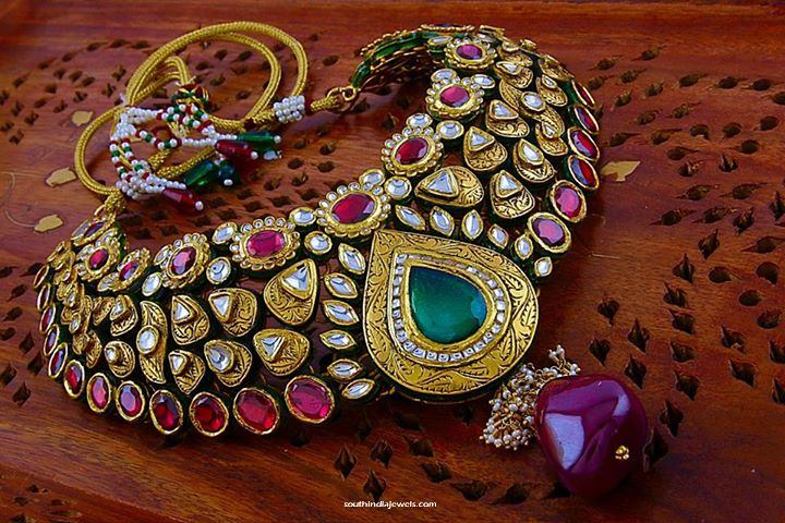Gold ruby Kundan Choker Necklace