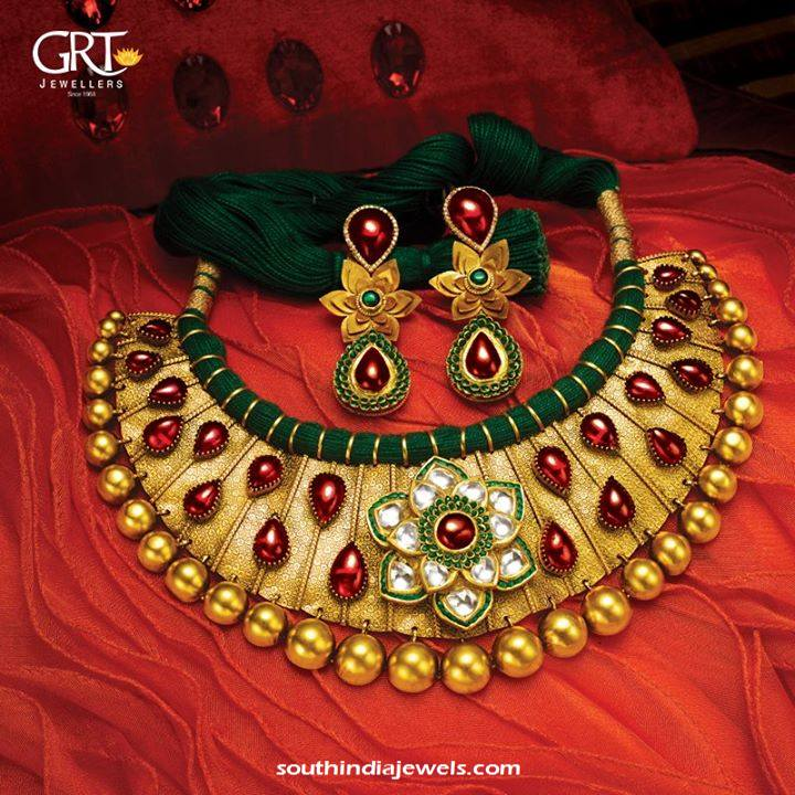 Gold Threaded Choker Necklace from GRT Jewellers