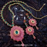 Imitation Ruby Emerald Necklace Set