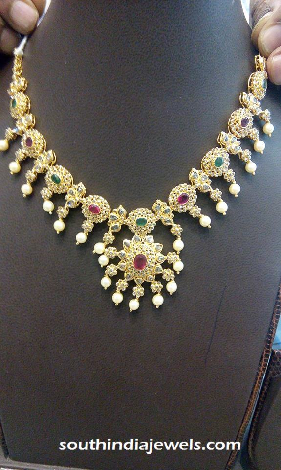necklaces pendant gold floral naj with light weight peacock necklace from pin jewellery