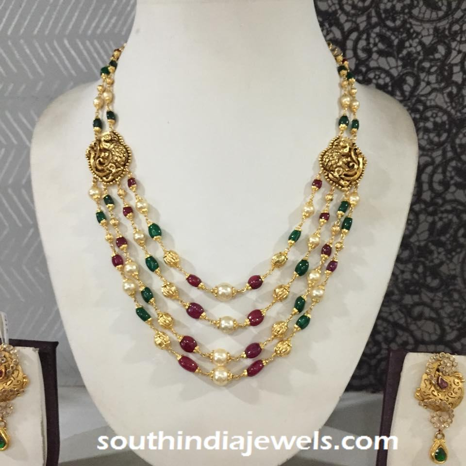 Multilayer Gold Antique Beaded Necklace