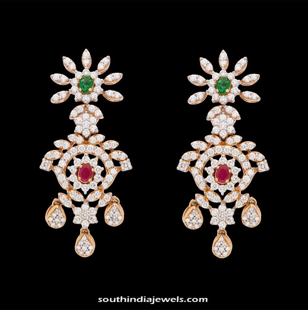 Party wear diamond earrings kothari jewellery