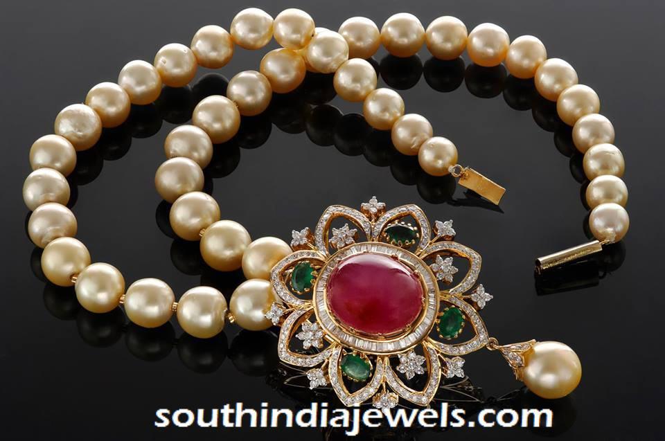 Pearl Mala with ruby emerald pendant