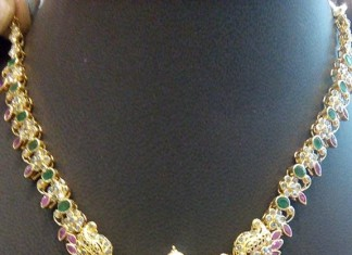 Light Weight Gold ruby Necklace Design