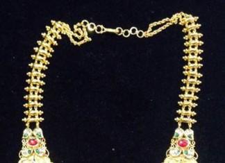Gold Antique Gundlu Haram from SBJ