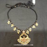 Gold Black Thread Necklace with Peacock Pendant