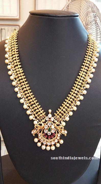 Gold Pearl Long Necklace Design South India Jewels