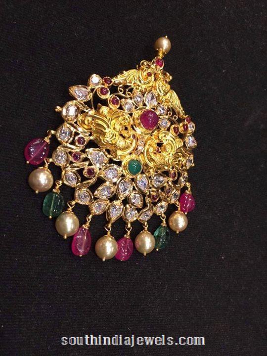 Gold Ruby Emerald Pendant