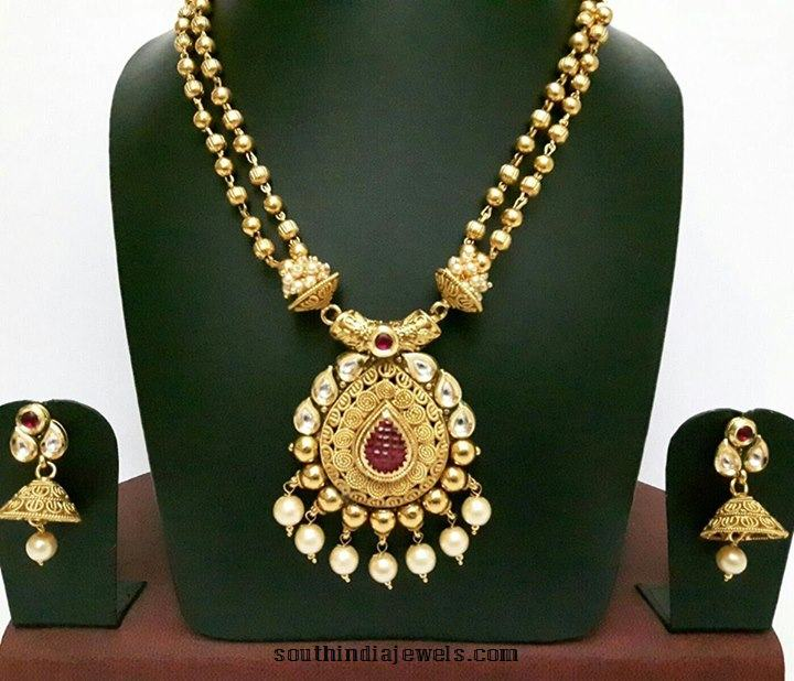 36fc5afb43 1 Gram Gold Kundan Haram with Jhumka ~ South India Jewels