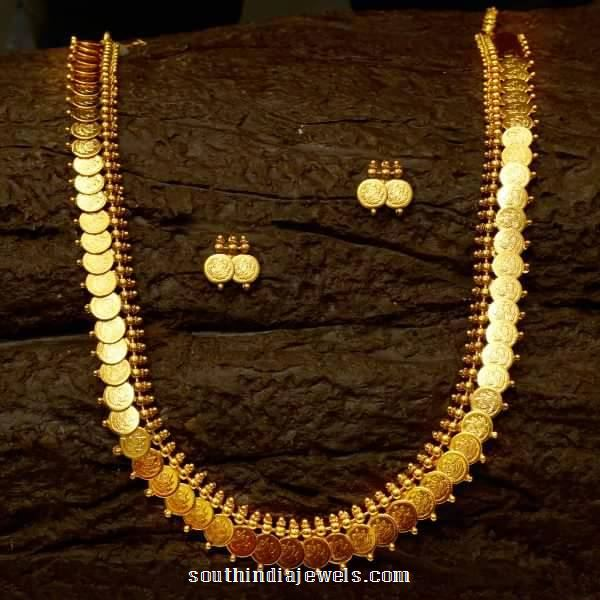 1 gram gold long kasumalai necklace with earrings