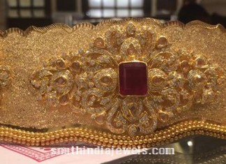 160 Grams weight gold bridal ottiyanam aaka vadanam from PSJ