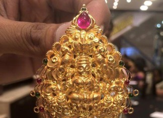 Gold Lakshmi Pendant with weight 17 grams