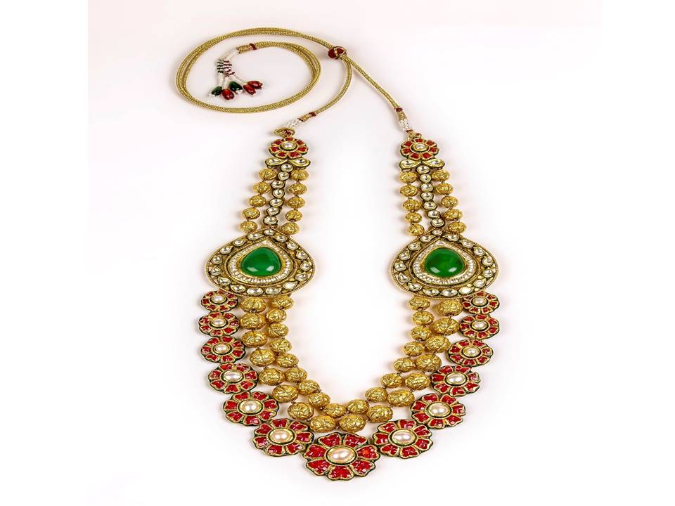 22K Gold Kantha with semi precious jade stones and rubies inan invisible setting  by Manubhai Jewellers-1