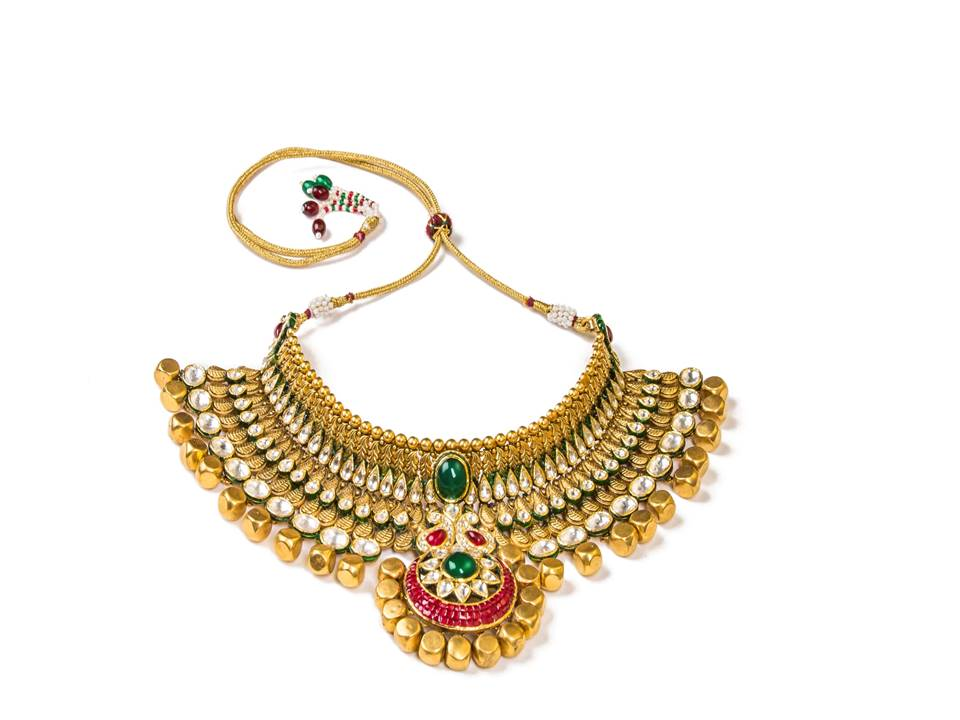 22K Jadau choker with solid gold beads and semi precious stones  by Manubhai Jewellers-1