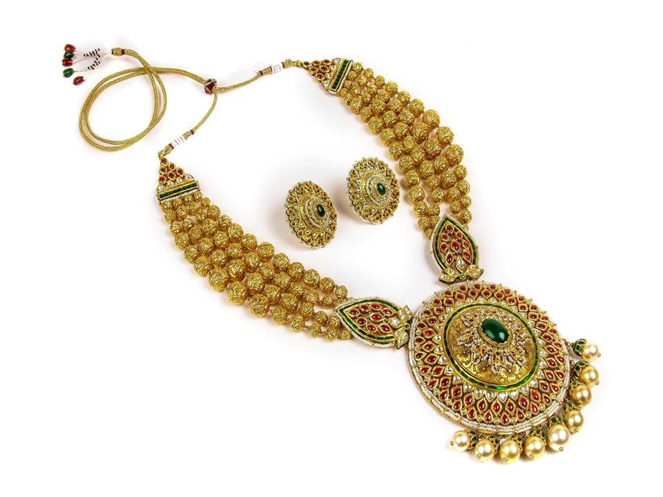 22K Mahrani Haar with keshi pearls and south sea pearls complete with semi precious stones  by Manubhai Jewellers-1