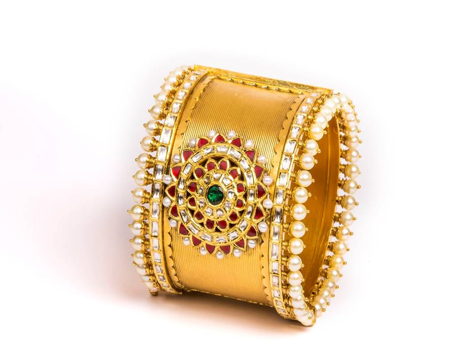 22K gold bangle with textured gold and pearls  by Manubhai Jewellers-1