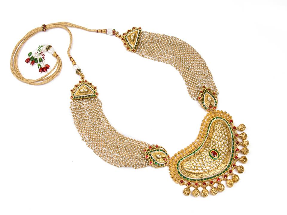 22K gold necklace setis inspired by the art of havelis with traditional nakshi work and thakkar kundan karigari & keshi pearls  by Manubhai Jewellers-1