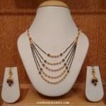 22K Gold Black Bead Step Necklace