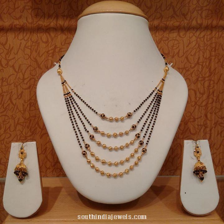 22K Gold Black Bead Step Necklace ~ South India Jewels