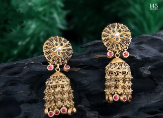 22k gold jhumka earrings from C Krishniah chetty & sons