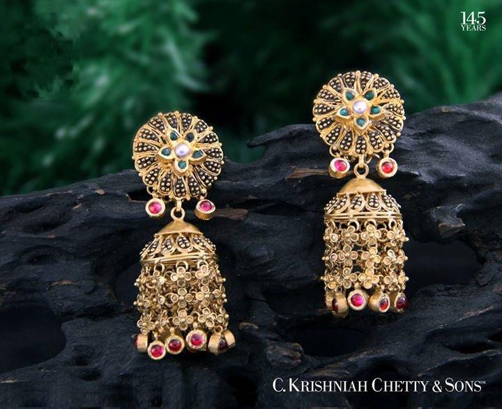 22k gold jhumka earrings from C Krishniah chetty & sons