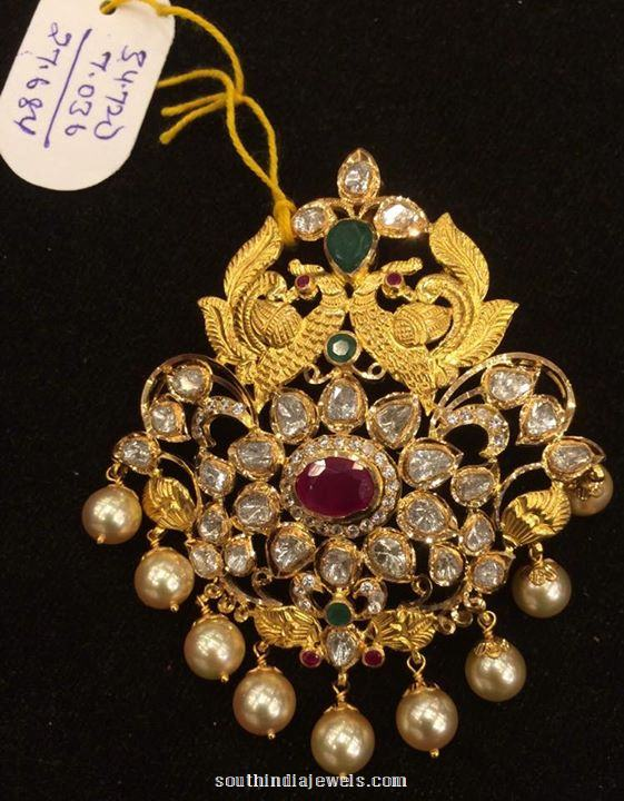 27 Grams weight gold stone pendant design