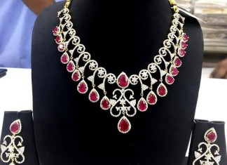 Famcy American Diamond Ruby Necklace set
