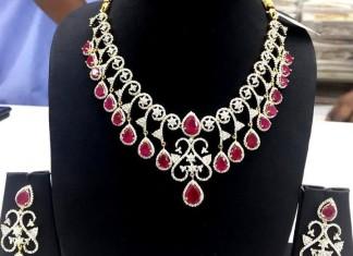 Famcy American Diamond Ruby Necklace set