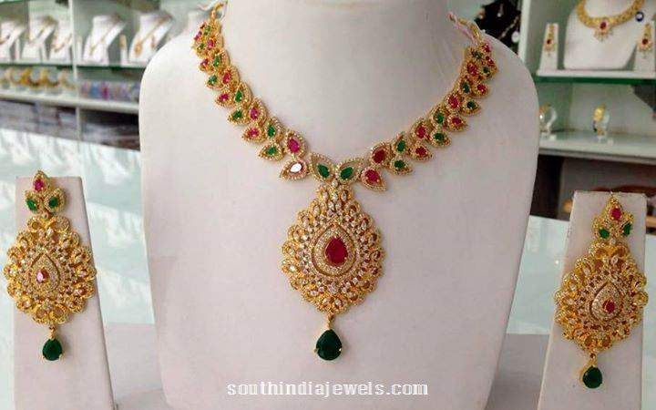 Artificial american diamond necklace from Swarnakshi Jewels