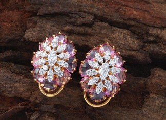 Desginer diamond ear studs from creations jewellery
