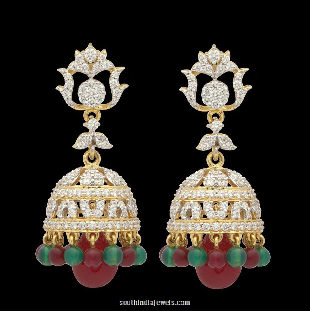 Diamond Jhumka earrings from Kothari Jewellery