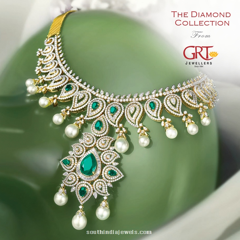 Diamond Emerald Pearl Necklace from GRT JEwellers