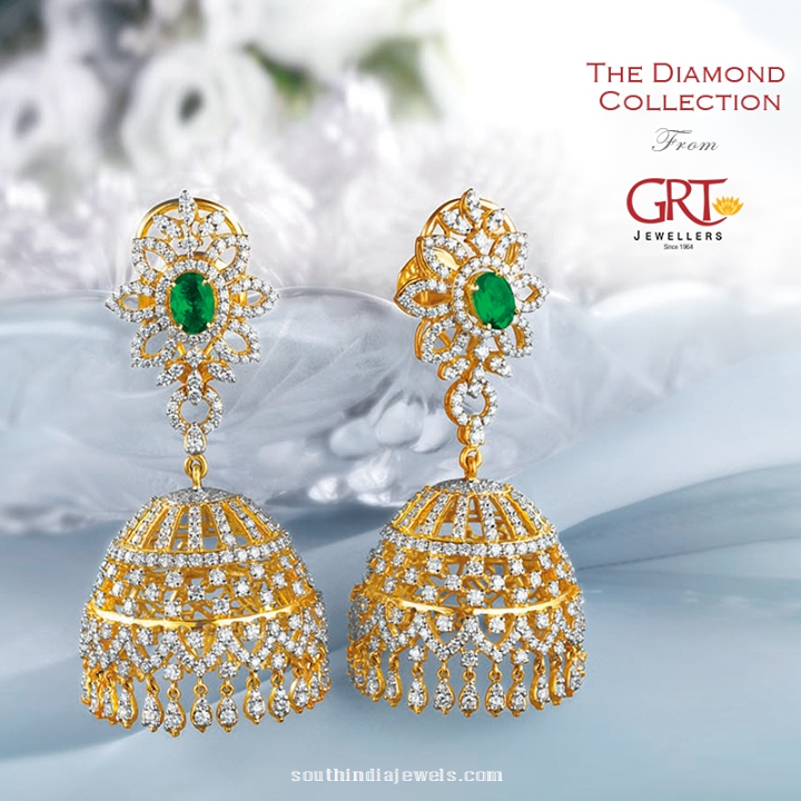 Diamond Emerald Jhumka Design from GRT