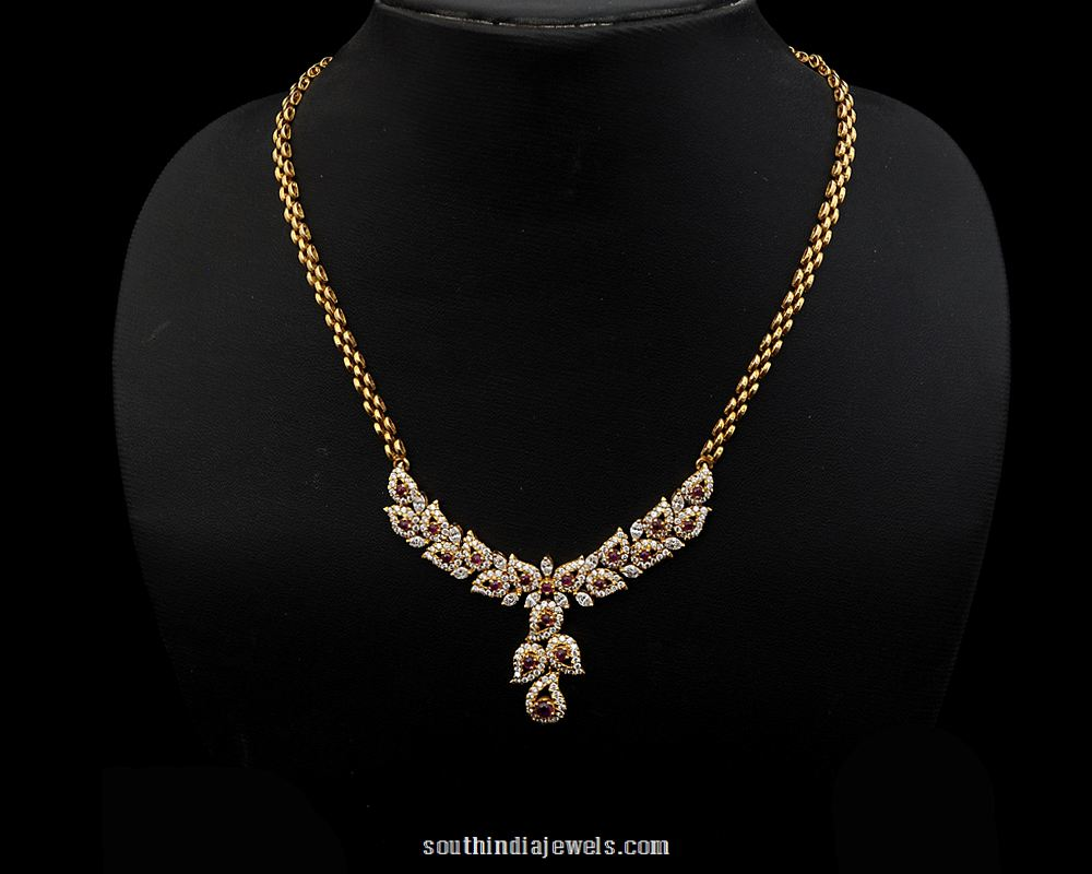 Diamond Necklace design from Nathella Jewellery