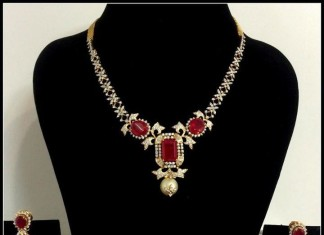 Diamond Necklace with red stones
